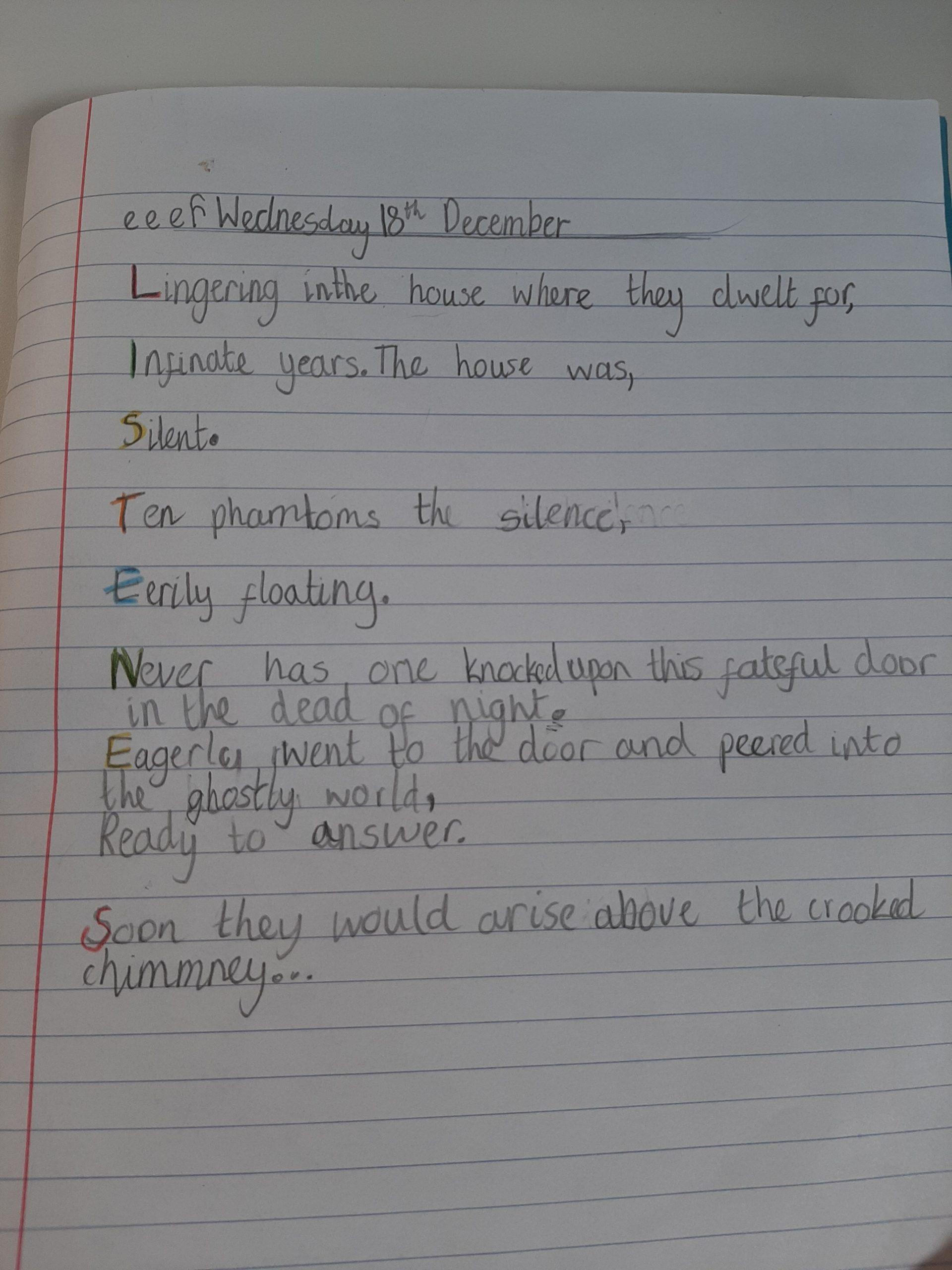 Y5 Acrostic Poems